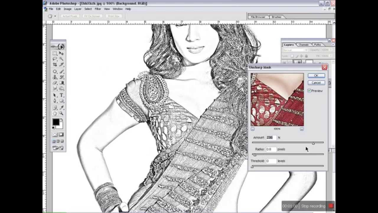 Line Drawing Converter : Adobe photoshop tutorial how to convert photo line