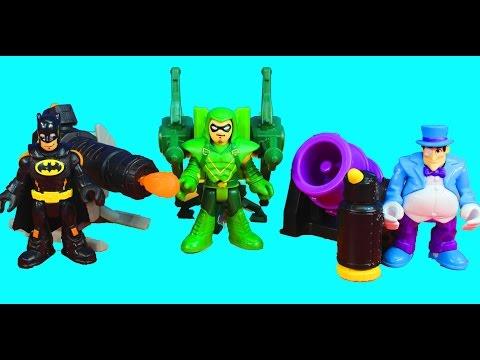 Imaginext Batman Penguin and Green Arrow have a Launcher Battle Joker Riddler Robin included