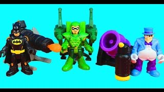 Imaginext Batman Penguin and Green Arrow have a Launcher Battle Joker Riddler Robin included