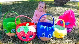 Surprises toys in the colored easter baskets