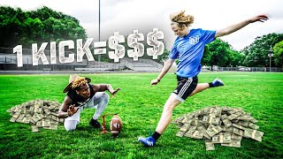 I GAVE THIS KICKER MONEY EVERY TIME HE MADE A FIELD GOAL! (FOOTBALL SHOPPING SPREE)