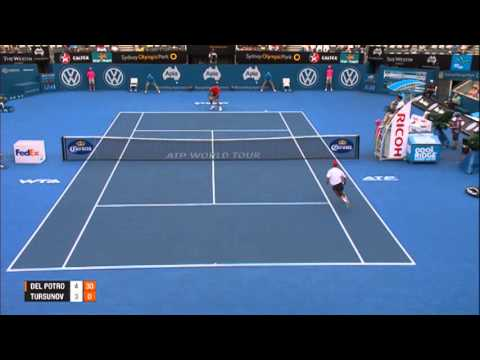 DEL POTRO (ARG) vs TURSUNOV (RUS) SEMI FINAL HIGHLIGHTS Apia International Sydney 2014