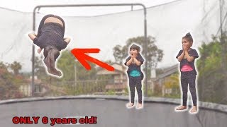 6 YEAR OLDS TEACH CRAZY FLEXIBLE HIGH FLYING TRAMPOLINE FLIPS!