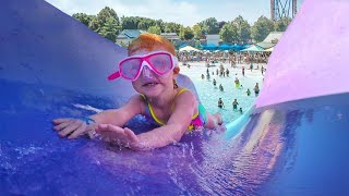 Kids Play at Ultimate Water Park!! Adley learns to water slide and Niko floats around!
