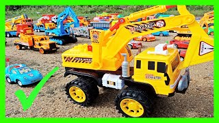 Build Overpass, Street for Kid Cars. Learn Colors with Kid Toys | Excavator, Dump Truck, Police Car