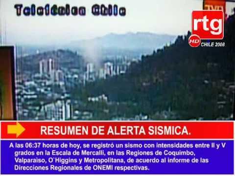 A las 06:37 horas de hoy, se registró un sismo con intensidades entre II y V grados en la Escala de Mercalli, en las Regiones de Coquimbo, Valparaìso, O`Higg...