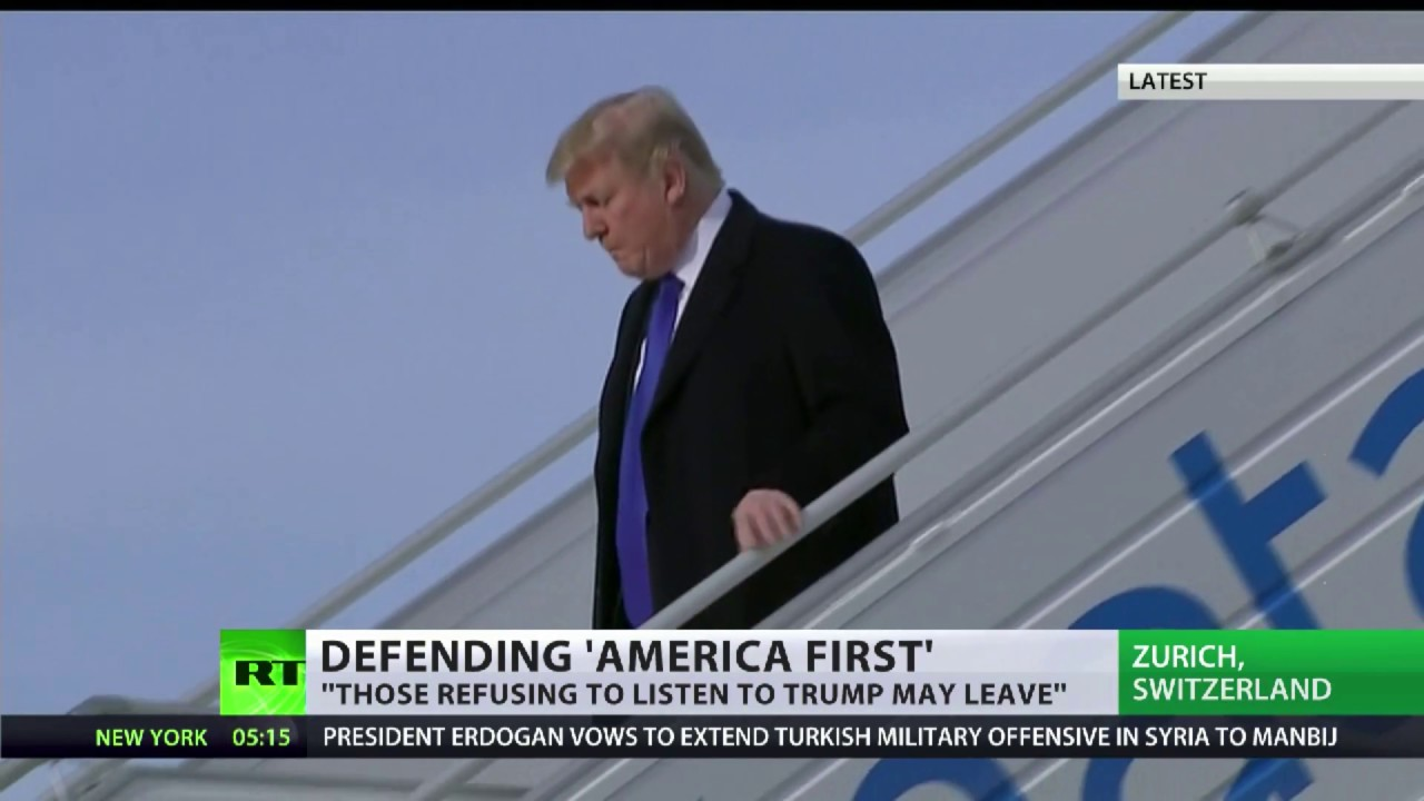 Trump arrives in Switzerland ahead of tomorrow's Davos speech