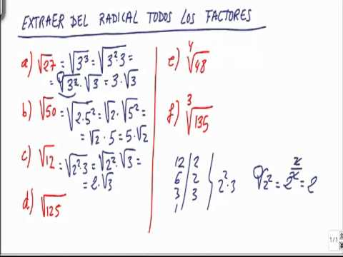 Matemáticas 4º ESO Extraer del radical los factores