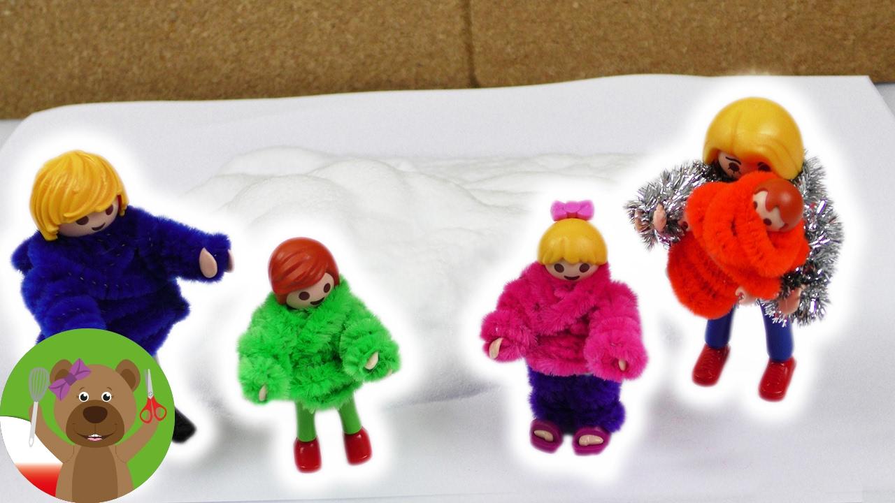 Ciepłe sweterki dla ludzików playmobila | puchate ubranka z wyciorów do fajek