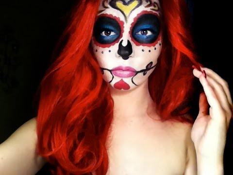 HALLOWEEN Mexican Sugar Skull Makeup Tutorial Day Of The Dead - YouTube