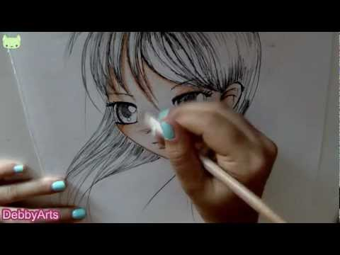 Disegnare e colorare un viso femminile- How to draw and colour a girl manga face!
