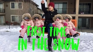QUADRUPLETS FIRST TIME PLAYING IN THE SNOW