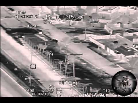 Apache gun ship engages 10 insurgents with hell fire