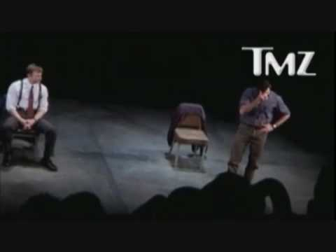Hugh Jackman flips out at guy in audience of Broadway show