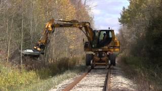 Hydrema M1600 with The Baumalight Brush Cutter rail maintenance equipment from H. Broer Equipment
