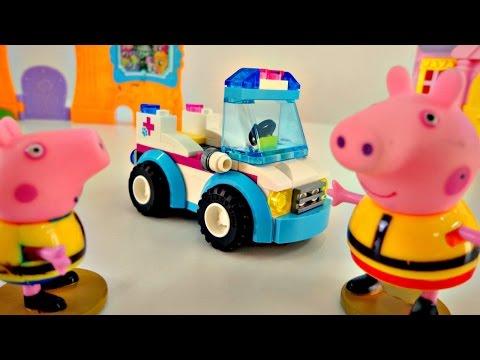 Видео для детей. Свинка Пеппа и машинка из конструктора