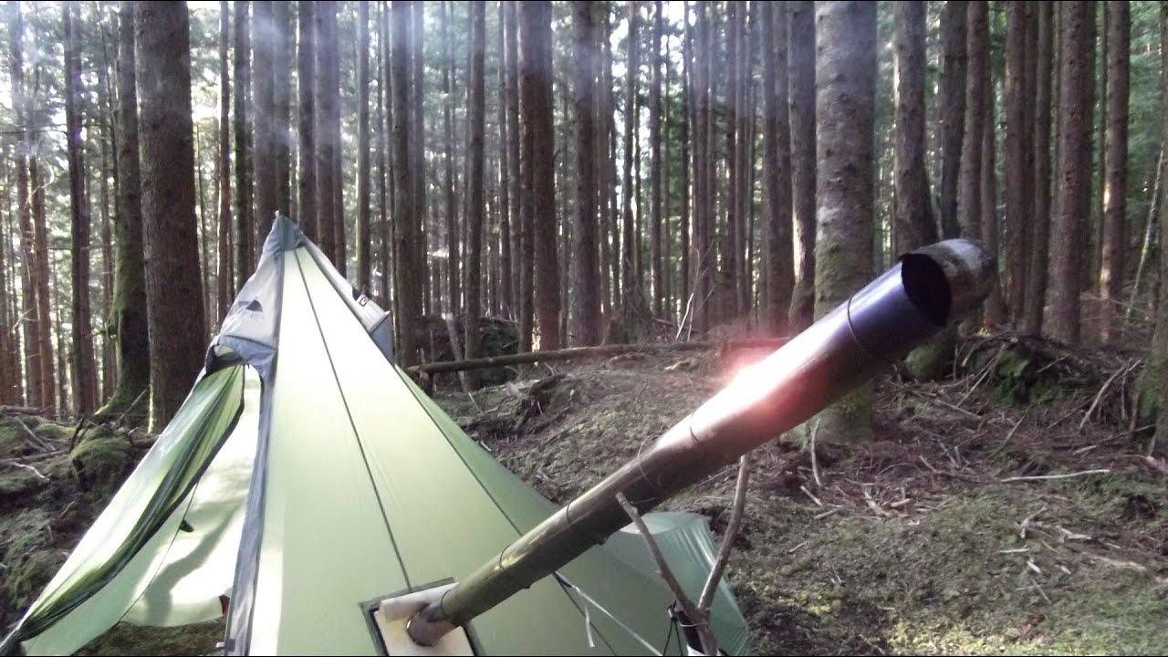 Overnight In Another Ultralight Backpacking Hot Tent And