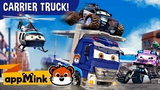 #appMink  Carrier Truck, Police Car, Fire Truck & Helicopter catch Evil Bus   kids videos 100mins