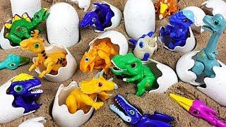 Dino Mecard 14 tiny dinosaurs surprise eggs! Play with transform launcher Mega Tyranno! - DuDuPopTOY