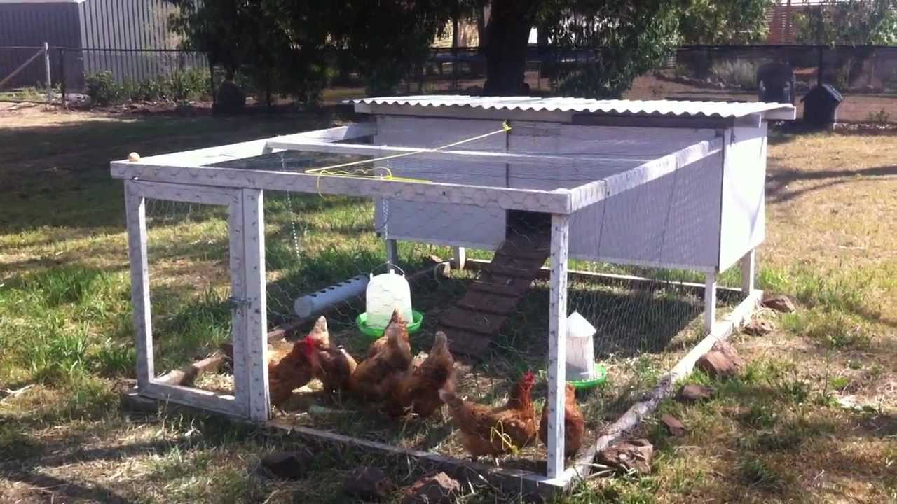 Tour our chicken tractor diy portable chicken coop youtube for Cheap chicken tractor