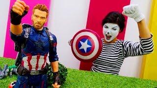 Superheroes in real life. Captain America vs Ultron.
