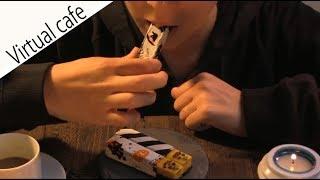 ASMR Cafe【Pumpkin stick cheesecake 】咀嚼音・正面Ver【かぼちゃのスティックケーキ】