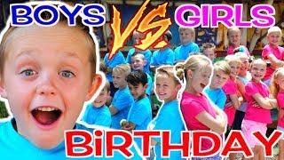 BOYS vs GIRLS! Kadens Birthday Party Challenge! Kids Fun TV