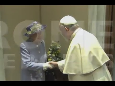 Pope meets with Queen Elizabeth. Sends gift to little Prince George
