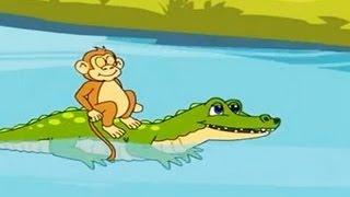 Panchatantra Tales in Hindi - Bandar Aur Magarmach - Animated Story for Kids | Moral Story (Kahani)