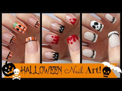 Halloween Nail Art! Three French Manicure Designs | MissJenFABULOUS