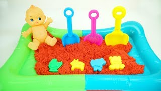 Play with toy shovels ,sand molds in Outdoor Pool with Kinetic Sand / ABC song for kids