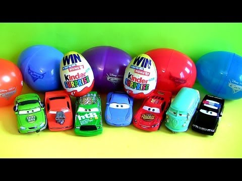 8 Disney Cars HOLIDAY EDITION Lightning McQueen Sally, Fillmore, Snot Rod Kinder Egg Toy Surprise
