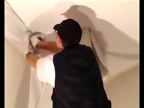 Instalaci n de techo tensado clipso youtube for Como encielar un techo