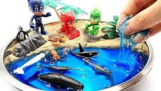 Learn Sea Animal Names With PJ Masks! DIY How To Make Kinetic Sand, Clay Slime Beach Shark