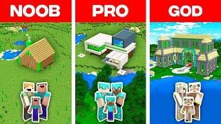 Minecraft NOOB vs PRO vs GOD: EMERALD BASE BUILD CHALLENGE in Minecraft (Animation)