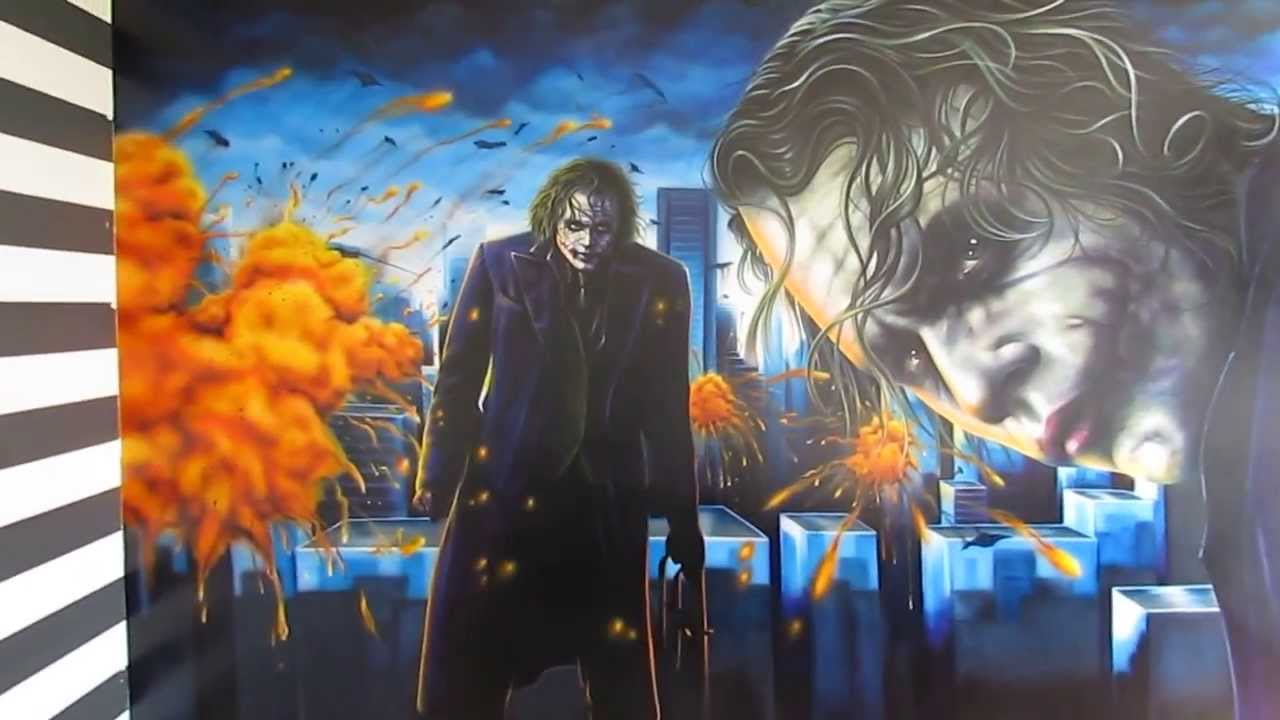 Dark knight joker airbrush mural youtube for Dark knight mural
