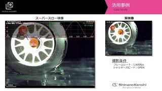 ハイスピードカメラ+解析アプリ「タイヤの水の跳ね上げ」