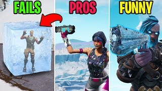 NEW ICE GUN + FROST GRENADE! FAILS vs PROS vs FUNNY - Fortnite Funny Moments