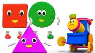 Bob xe lửa | Năm hình chữ nhỏ | nhảy vần cho trẻ em | Learn Shapes | Bob train | Five Little Shapes
