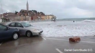 Nevrijeme Rovinj 10.02.2016. / Storm in Rovinj - Croatia, huge waves and flood