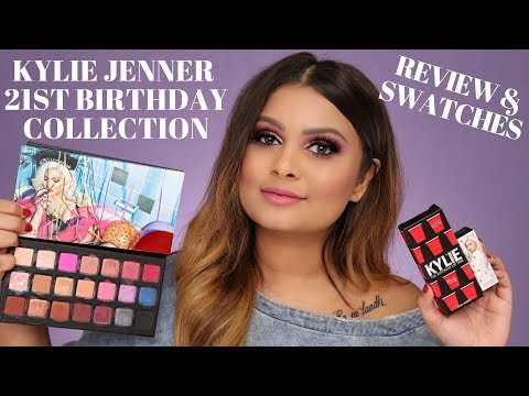KYLIE 21ST BIRTHDAY COLLECTION REVIEW & SWATCHES   EYESHADOW PALETTE & LIPSTICKS