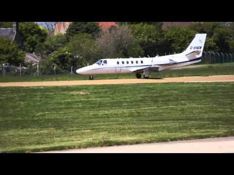 Cessna 550 Citation Bravo, G-EHGW, Eurojet Aviation, taking off from Jersey Airport