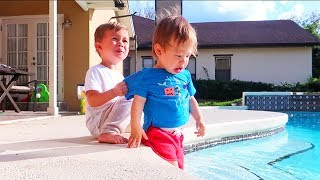 Toddler Saves Baby Brother From Pool! (super cute)