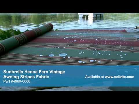 Video of Sunbrella Henna Fern Vintage Awnings Stripe fabric 4969 0000