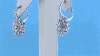 DIAMOND FLOWER SHAPE DANGLE EARRINGS