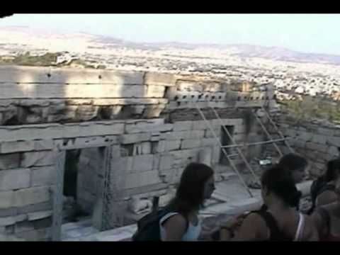 Overview of the main sights of the Parthenon at the Acropolis, Athens, Greece