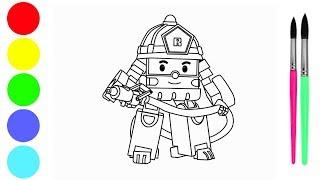 How to draw robocar poli Roy | 로보 카를 그리는 방법 | Cara Menggambar Poli Roy