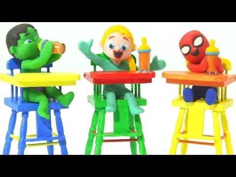SUPERHERO BABIES HAVE LUNCH ❤ Spiderman, Hulk & Frozen Play Doh Cartoons For Kids