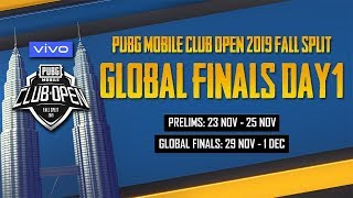 [EN] PMCO Global Finals Day 1 | Vivo | Fall Split | PUBG MOBILE CLUB OPEN 2019