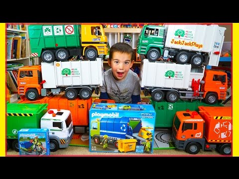 Garbage Trucks for Children Toy Unboxing - Huge Recycling Truck Collection